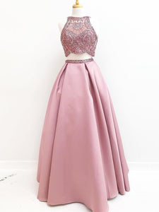 Two Pieces Prom Dresses A-line Pink Scoop Modest Beading Prom Dress/Evening Dress SED397