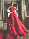Sweep/Brush Train Prom Dresses A-line Red Simple Cheap Long Prom Dress/Evening Dress SED504|Selinadress