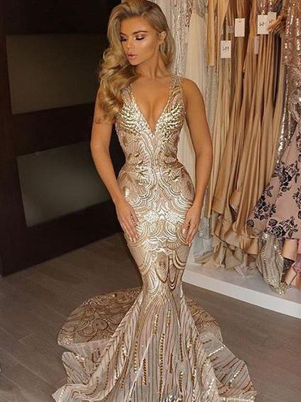 Trumpet/Mermaid Prom Dresses Deep V Neck Beading Gold Long Prom Dress/Evening Dress SED506|Selinadress