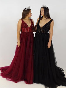 Prom Dress A-line Burgundy Beaded V neck Tulle Long Prom Dresses/Evening Dress SED480|Selinadress