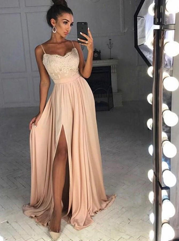 A-line Prom Dress Pink Spaghetti Straps Lace Long Prom Dresses/Evening Dress SED474|Selinadress