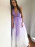 Prom Dress A-line Straps Ombre Sleeveless Elegant Long Prom Dresses/Evening Dress SED488|Selinadress
