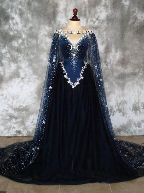 Dark Blue Prom Dresses A-line Sweep Train Chic Prom Dress Sparkly Modest Evening Dress SED489|Selinadress
