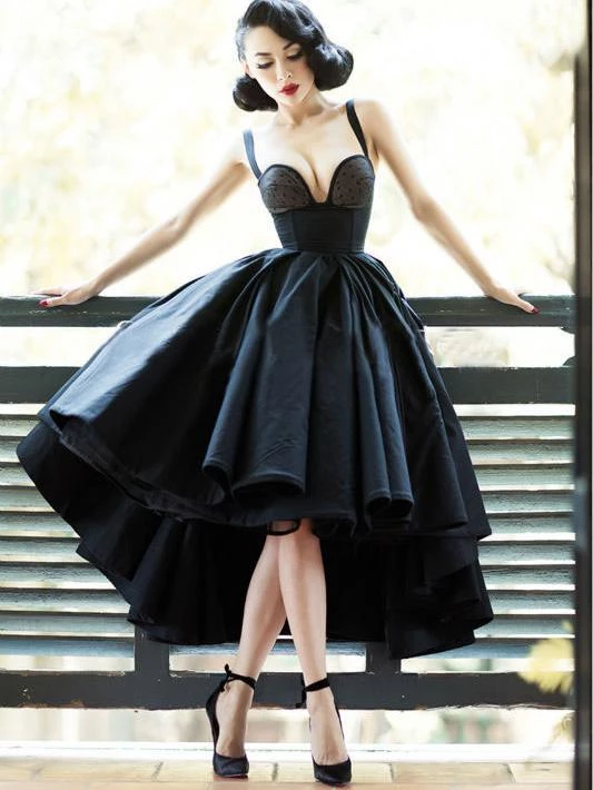 Chic Black Cheap Prom Dress Vintage Asymmetrical Prom Dress #SEDP152