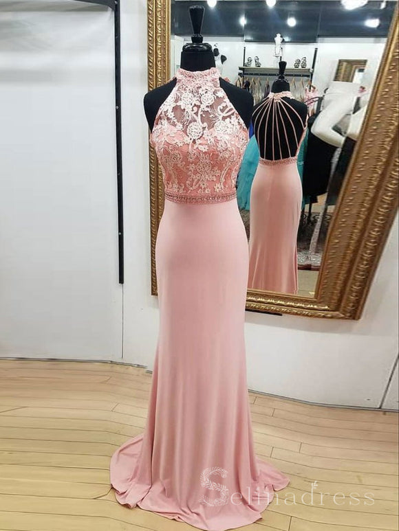 Chic Pink High Neck Fitted Long Prom Dress With Beads Long Formal Dress #SED163