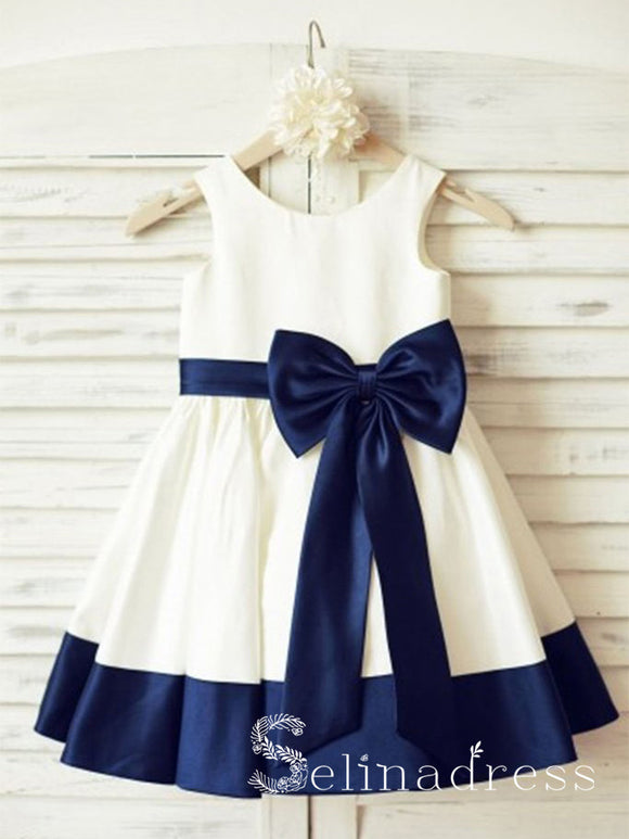 Ivory Scoop Neck Princess Big Bow Cute Flower Girl Dresses GRS003