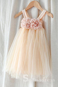 Pink Floral Princess Cute Flower Girl Dresses GRS023