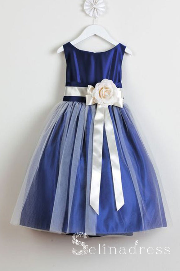 Royal Blue Floral Belt Cute Flower Girl Dresses GRS001