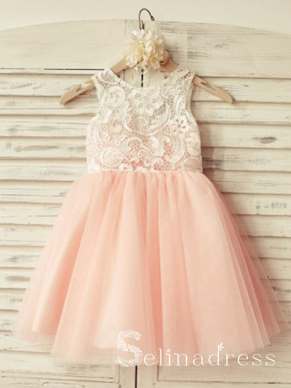 Scoop Neck Lace Pearl Pink Flower Girl Dresses GRS002