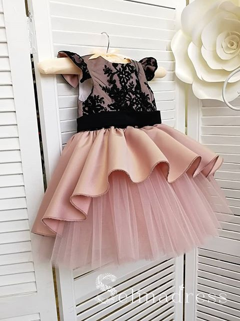Black Lace Lovely Pretty Pink Wedding Little Girl Flower Girl Dresses GRS012|Selinadress