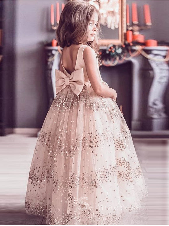 Lovely Cute Flower Girl Dresses with Bow on the Back GRS025