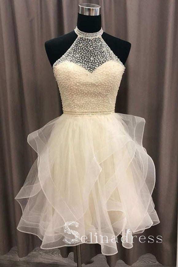 Champagne Tulle Crystal Homecoming Dress Short Prom Dress MHL029|Selinadress