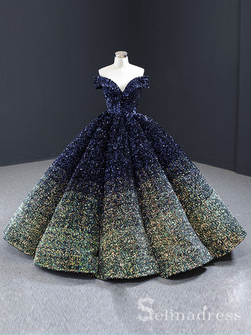 Scoop Neck Cap Sleeve Ombre Sequin Ball Gown Quinceanera Dresses #QC001
