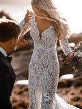 Rustic See Through Lace Wedding Dresses V neck Long Sleeve Mermaid Wedding Dresses SEW007