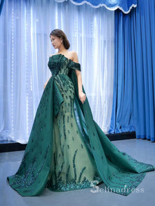 Haute Couture Off-the-shoulder Green Long Prom Dresses Beaded Pageant Gown SC001
