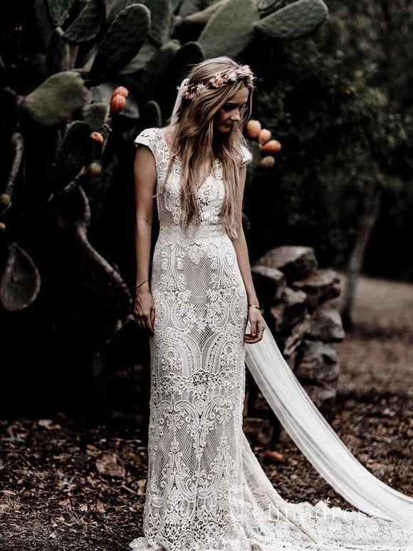 Vintage Lace Wedding Dress Sexy  Boho Ivory Beach Wedding Dress # SD0825