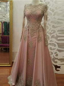 Pearl Pink Long Prom Dresses Scoop Long Sleeve Sparkly Long Prom Dress Evening Dresses SE001