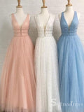 A-line  V-neck Sleeveless Sparkly Tulle Long Prom Dress Evening Dresses SE002