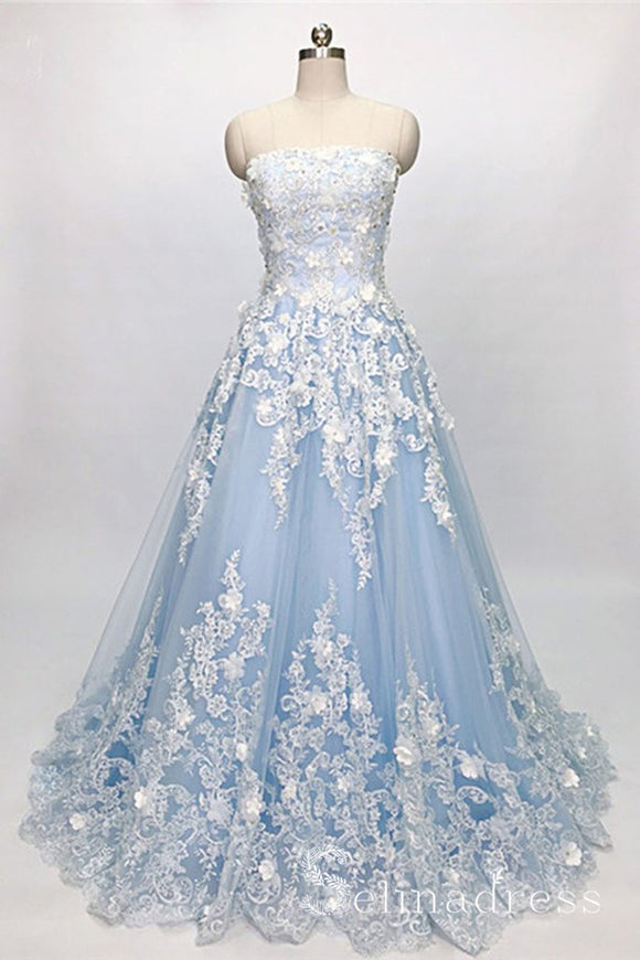 Chic A-line Strapless Light Sky Blue Lace Long Prom Dresses Unique Party Dress SED059|Selinadress