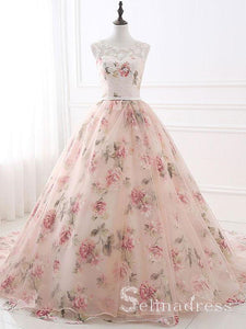 Ball Gowns Prom Dresses Long Pearl Pink Floral Lace Formal Dress Evening Dresses SED095