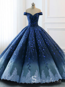 High Quality Hand Made Prom Dresses Ball Gown Off-the-Shoulder Ombre Quinceanera Evening Dress SED110