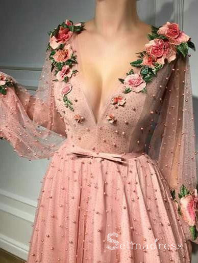 V-neck Pink Long Prom Dresses With Sleeve Floral Long Formal Evening Gowns SED129|Selinadress