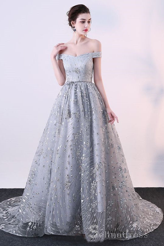 A-Line Sparkly Grey Evening Dresses Glitter Sequins Princess Off-The-Shoulder Formal Dresses #SED198 | Selinadress