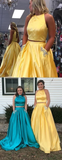 Two Piece Yellow Satin Open Back Beading Pocket Prom Dresses #SED218