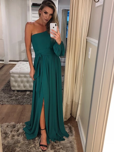 One Shoulder Long Sleeve Teal Chiffon Prom Dresses #SED221