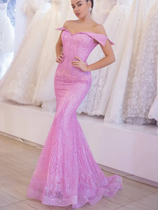 Pink Off Shoulder Mermaid Sequined Organza Charming Shiny Prom Dresses #SED222