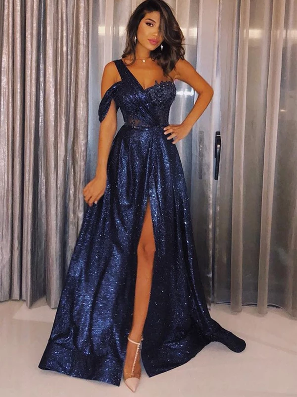 Navy Sequin One Shoulder A-Line Shiny Long Prom Dresses #SED223