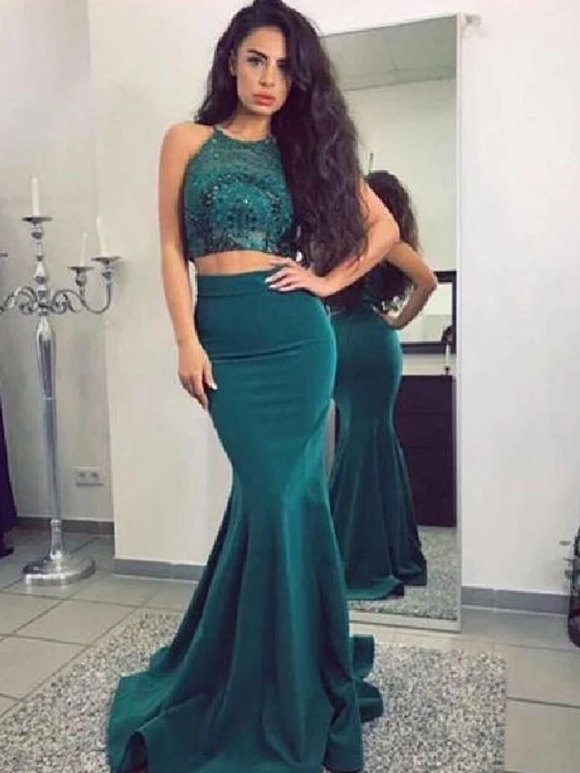 Mermaid Two Piece Teal Sequin Jersey Cheap Long Prom Dresses Evening Dress #SED231