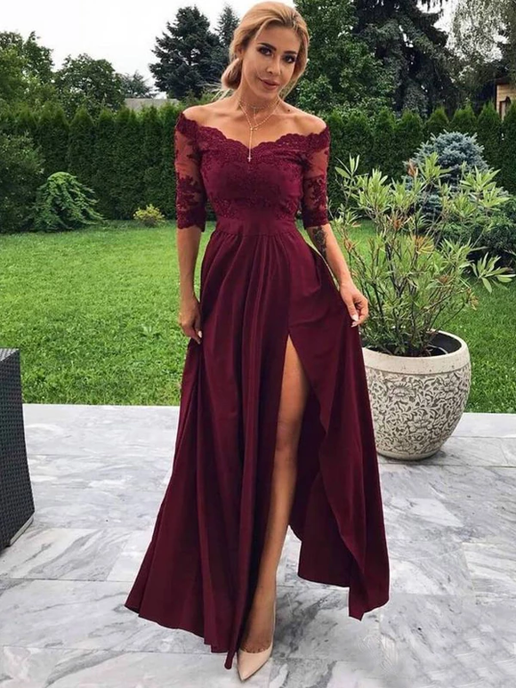 Maroon Off Shoulder Half Sleeve Burgundy Lace Long Prom Dresses Evening Dress #SED233