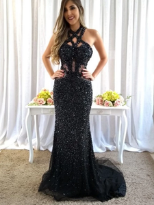 Mermaid Black Rhinestone Open Back Sparkly Prom Dresses Evening Dress #SED234