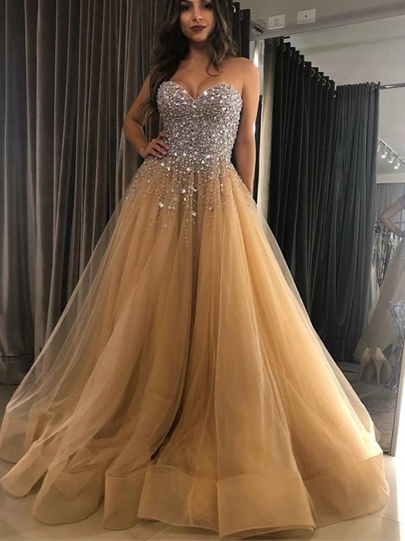 Sweetheart Strapless Ball Gown Rhinestone Sparkly Prom Dresses Evening Dress #SED235
