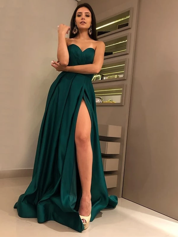 A-Line Sweetheart Strapless Hunter Green Slit Prom Dresses Evening Dress #SED237