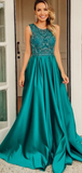 Royal Blue Satin Beading Sleeveless Charming Prom Dresses Evening Dresses #SED238
