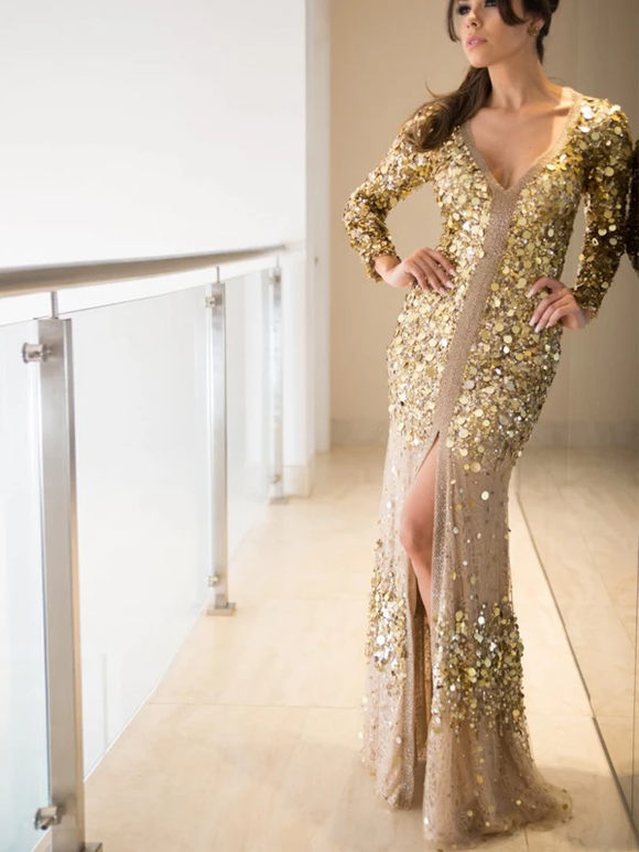 Long Sleeve See Through Fashion Gold Sequin Long Prom Dresses Evening Dress #SED232