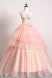 Sweetheart Pink Tulle 3D Lace Multi-layered Ball Gown Formal Prom Dress #SED243