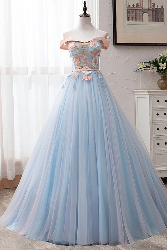 Blue Tulle Embroidery Lace Strapless Long Off Shoulder Prom Dress, Formal Dress #SED244