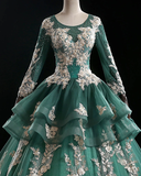 Green Long Sleeve Lace Unique Prom Dress Formal Gowns Evening Dress #SED246
