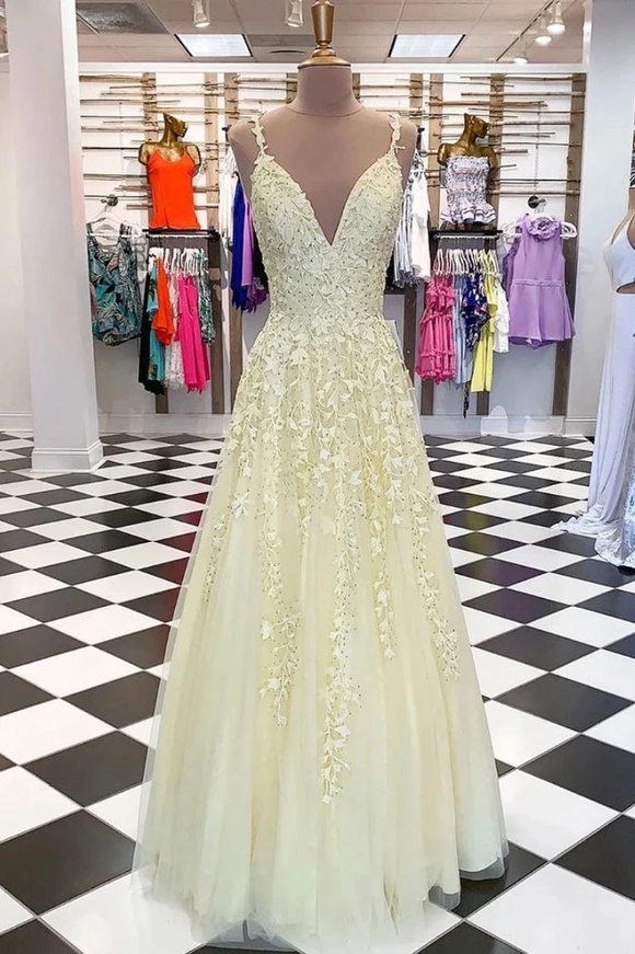 Fresh Yellow Long Lace Applique Tulle Senior Prom Dress Evening Dress #SED248