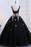 A Line Black Colorful Lace Applique Long Prom Dress Lace Up Formal Dress #SED249