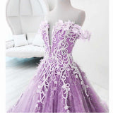 Beautiful Off-the-shoulder Lace Prom Dress Floral Elegant Long Evening Dress #SED247