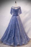 Blue Cap Sleeve Sequins Tulle Long Prom Dress Formal Dress Cheap Evening Dress #SED258