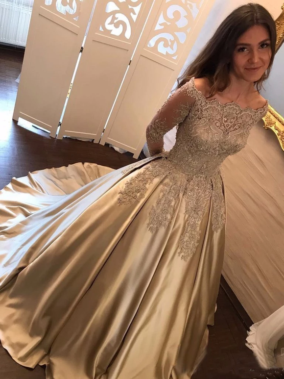 Chic Off Shoulder Gold Prom Dress Long Sleeve Sparkly Prom Dress Bridal Dress #SED259