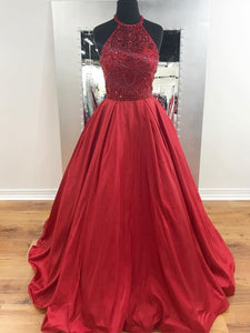 Chic Red Prom Dresses Long Beaded Modest Cheap Prom Dress Evening Dresses #SED260