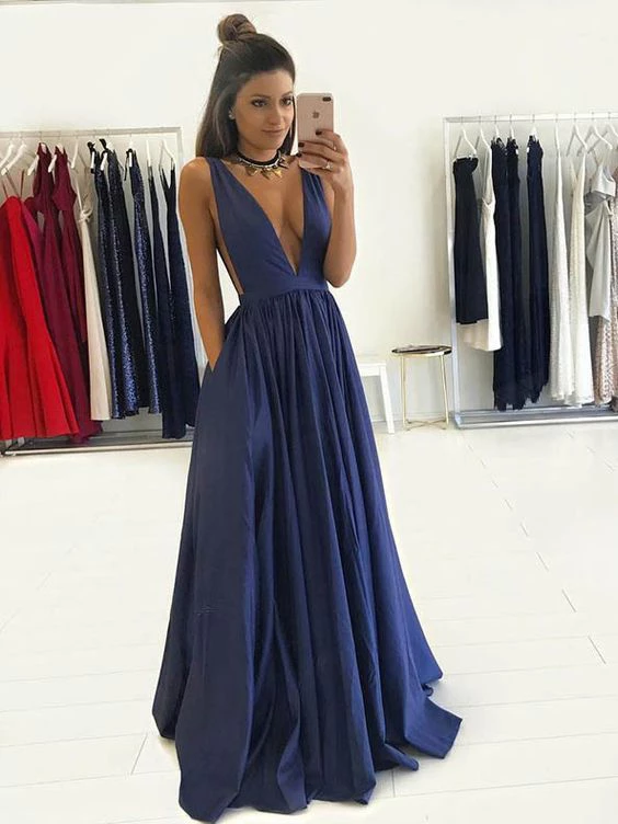 A-line V-neck Floor Length Royal Blue Taffeta Prom Drsess Cheap Evening Gowns #SED261