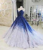 Ombre Prom Dress With Applique Royal Blue Prom Dresses Long Evening Dress #SED262