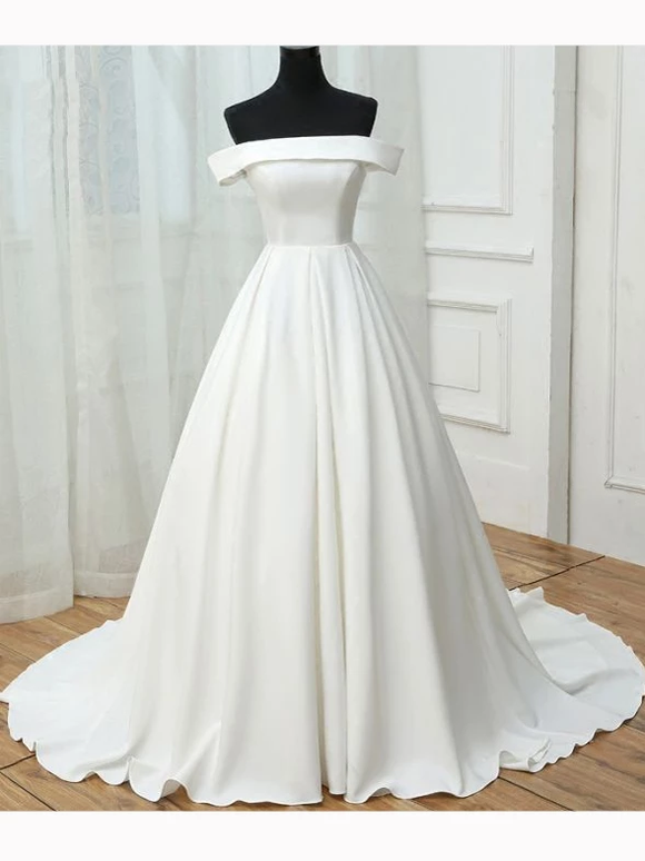 Chic A-line Off Shoulder White Satin Simple Evening Gowns/Wedding Dresses #SED263